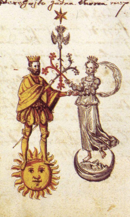 Marriage of Gold (Sol/Sun) and Silver (Luna/Moon) rosarium philosophorum
