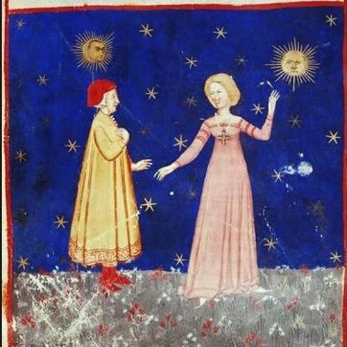Dante encounters Beatrice. A 14th century Venetian illustration for the Divine Comedy from Biblioteca Marciana
