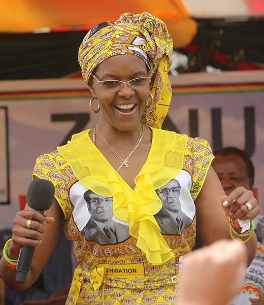 """""""Gucci Grace"""" Mugabe whose passion for luxury (Leo Sun, Taurus Moon!) earned her this nickname, also has Mars at 13° Libra."""