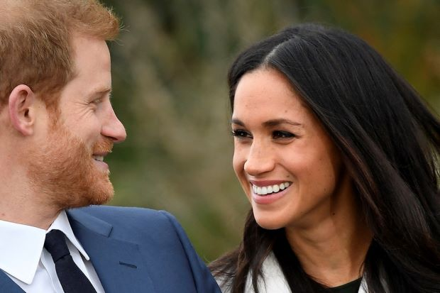 Prince Harry and Meghan Markle in the Princess Diana Memorial Garden