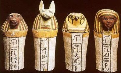 Ancient Egyptian canopic jars containing the organs of the deceased.
