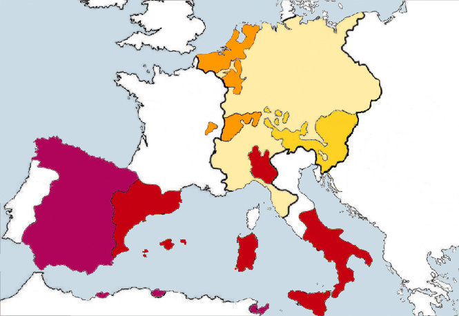 Charles V's European territories. Red represents the Crown of Aragon, magenta the Crown of Castile, orange his Burgundian inheritances, mustard yellow his Austrian inheritances, and pale yellow the balance of the Holy Roman Empire. CC BY-SA 3.0
