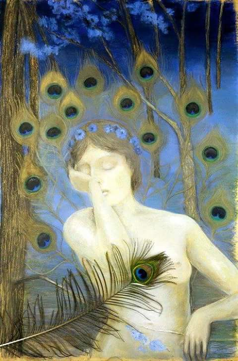 Woman with Peacock Feather, Kazimerz Stabrowski