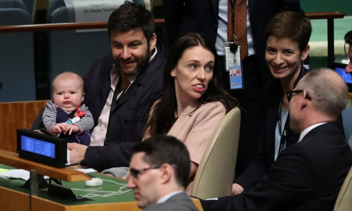 From the left Neve Te Aroha, Clay Gayfor and Jacinda Ardern at the UN.