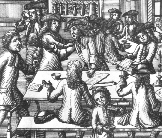 Inside a coffeehouse, from the frontispiece of Ned Ward's satirical poem Vulgus Brittanicus (1710)